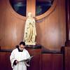 Seminarian Julio Barrera stood outside the St. Thomas Aquinas Chapel before the St. Nicholas Banquet Mass on December 6.