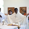 Fr. Brice Bahouamio, a Congolese priest serving in the Dioces of Lexington, presides at Mass during the World Priests Program workshop held in April.
