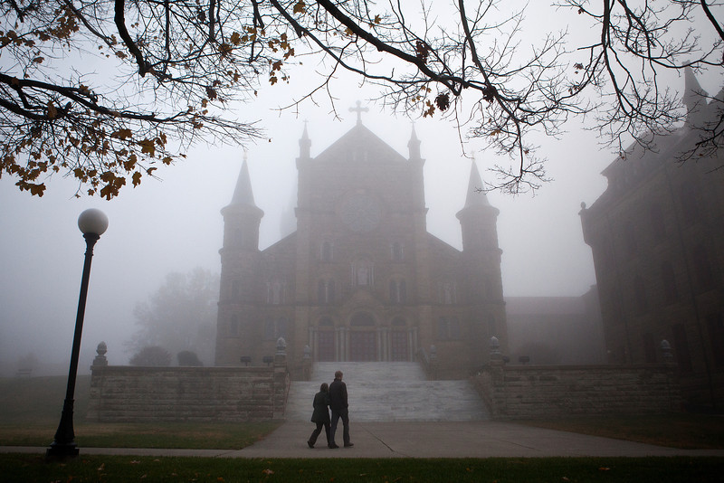 Fog enveloped the Saint Meinrad Archabbey campus in early November