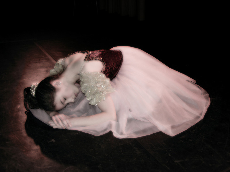 """Emily played """"Clara"""" in the Nutcracker this year. This is her """"sleeping pose"""" for that ballet -- this one was tweaked a bit, a little diffusion, etc."""