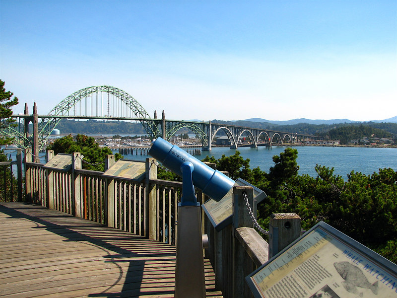 Yaquina Bay Bridge, as viewed from the state park, on a beautiful late September Monday afternoon.