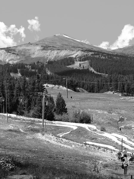 A mountain (Peak 7 or 9, maybe?) just outside of Breckenridge, CO. It looked okay in color, but I kind of like the B&W version better. In the foreground is the Alpine Slide at Peak 8.
