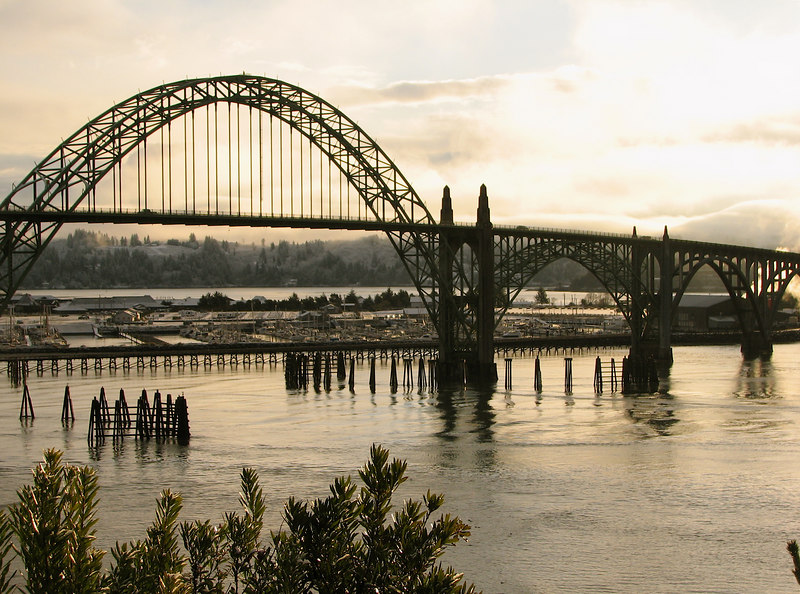 Yaquina Bay Bridge in the morning sunlight on a once-in-a-decade day where we have snow.