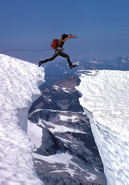 Crevasse Jump, Mt Challenger, North Cascades Natl. Park, WA