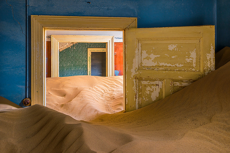 Nam 037 Doorways and Sand, Kolmanskop, Namibia
