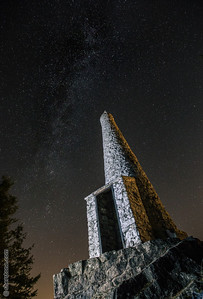 Mt. Prevost War Memorial  The memorial on top of Mount Prevost, near Duncan Bristish Columbia. I lit it by using a flash light while exposing for the milky way above.