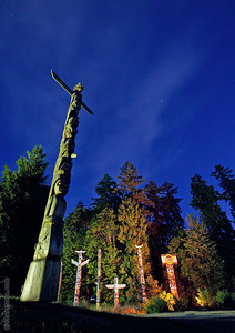 """Stanley Park Sentinels""  During an all night photography session with friends we photographed many of the sites around Vancouver from Dusk until dawn the next morning. These are the totems in Stanley Park."