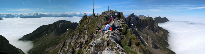 Wide panorama of Mt. Pilatus, Switzerland. Lucerne is less than 10 miles away to the right of the camera and totally under heavy overcast. Weather up here was slightly cool and very calm.
