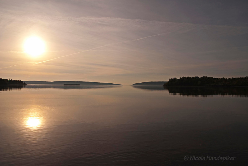 This is what I captured on the opposite side of the Bear River Bridge after shooting the reflections... sun setting over Annapolis Basin.