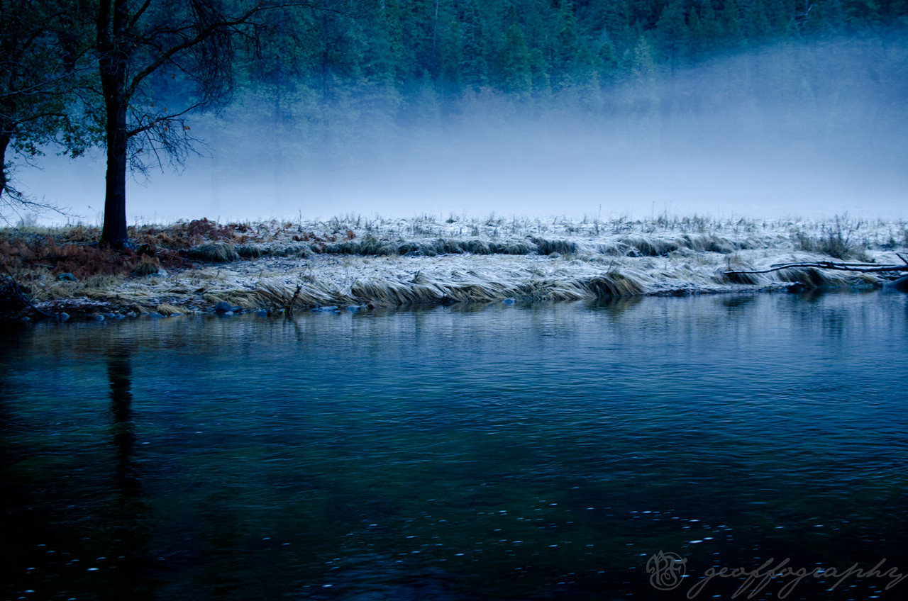 Merced Frost: a wintry dusk sets upon the Merced River in Yosemite Valley.