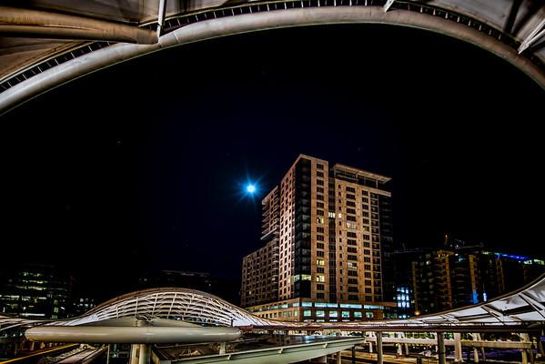 Moonlight Over Downtown Denver Union Staton