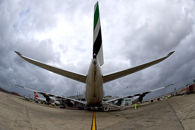Emirates Airline Airbus A380 at stand 703 in Rome Fuimicino, Italy.