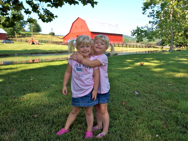 Sydney & Kamryn at Uncle Bobby's farm in Bristol, TN
