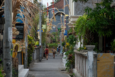 Narrow alley in Kuta, Bali, Indonesia