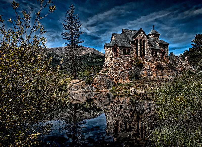 St Malo Church<br /> Near Estes Park Colorado a Catholic Preist while looking for fragments of a meteor found the rock and decided it would be a great place for a chapel ... The chapel was completed in 1939