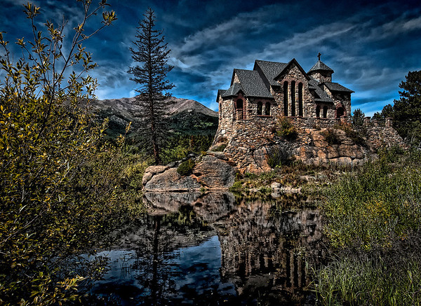 St Malo Church Near Estes Park Colorado a Catholic Preist while looking for fragments of a meteor found the rock and decided it would be a great place for a chapel ... The chapel was completed in 1939