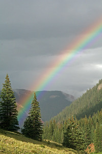 Vibrant rainbow in the Rocky Mountains