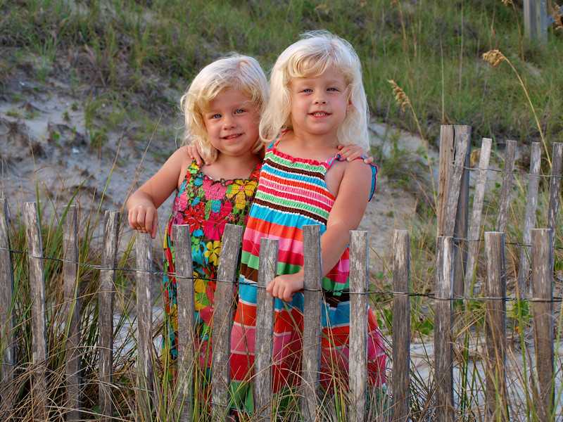 Sydney & Kamryn at Emerald Isle, NC.  That fence gave way right after this picture.  I have a photo of the fall too. :-)
