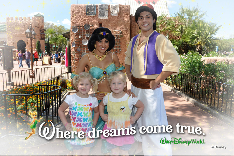 "Thanks to the ""healing"" powers of camel spit and Jasmine and Aladdin, Kamryn was able to get into the picture."