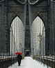 Brooklyn Bridge & Red Umbrella - New York City
