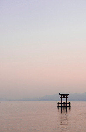 Torii floating on Lake Biwa at Sunset.