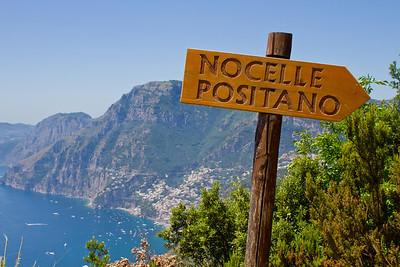 Nocelle Positano Italy sign on Santiero Degli Dei