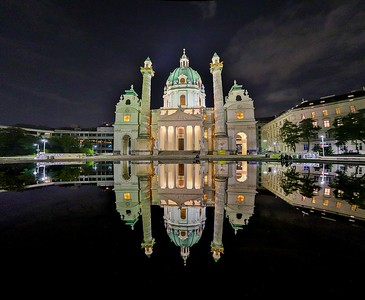 Wider angle night view of St. Charles Cathedral. Tour friends Tom and Wilma enjoyed these views with me that evening.
