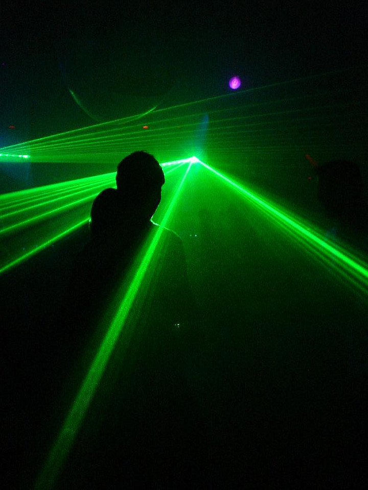 Lasers at the first Hogere Sferen party in Asta, The Hague