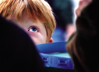 Michael Klein, 5, of West Bend, waits for his food ticket to get some fish fry at the St. Mary's Immaculate Conception 2004 Family Festival in West Bend.
