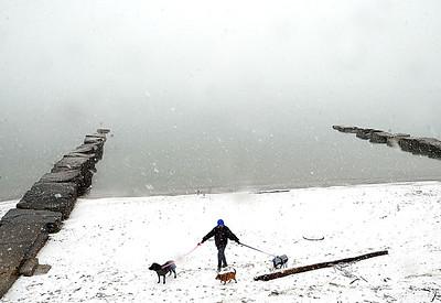 Debbie Banks-Skellenger of Avon Lake walks her dogs Casey, left, Foxey and Little Bit, as fog rolls in off the lake at Veterans Memorial Park in Avon Lake on Monday, Feb. 8.  STEVE MANHEIM/CHRONICLE