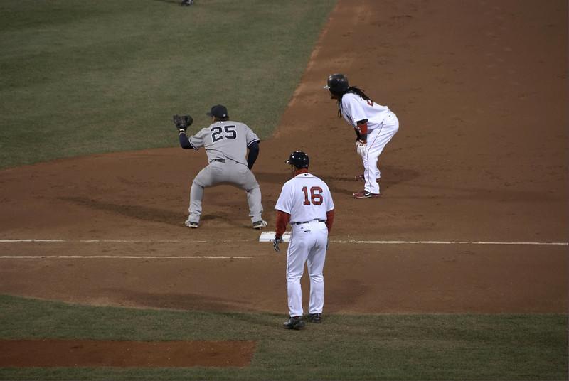 Manny Ramirez reaches first base.