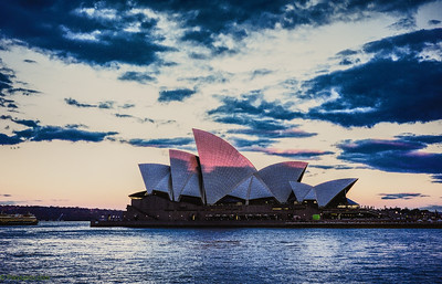 Sun setting over the opera house