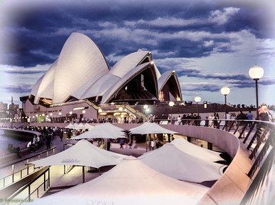 the opera house and a setting sun...