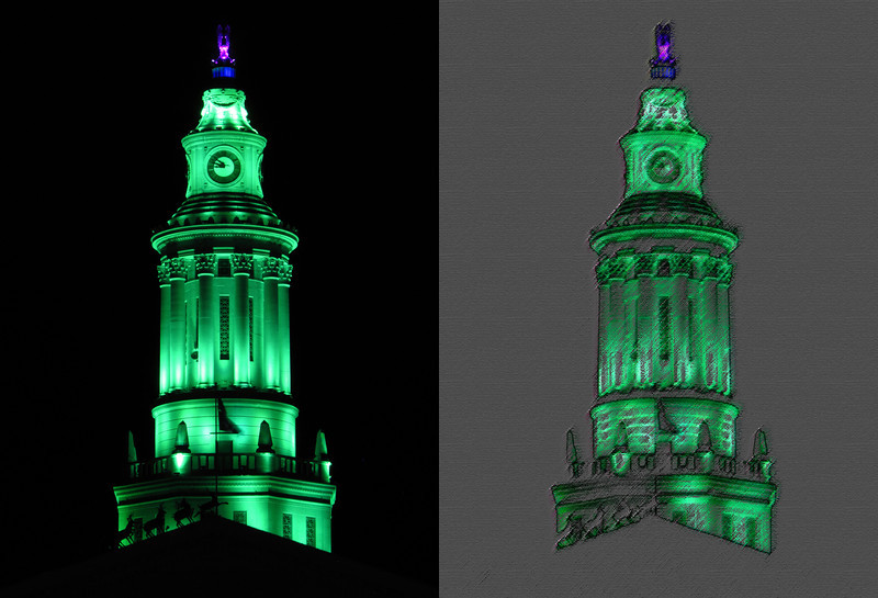 """Before and after, City and County Building tower, Denver Colorado: View in size X2. Color saturation tool, blue, used hue slider to move from purple tone to green. Saved as new image, then applied filters.<br /> <br /> First applied Colored Pencil filter from the Artistic set; pencil width 5 - stroke pressure 11 - paper brightness 16. Next applied Rough Pastels also from the Artistic set; stroke length 6 - stroke detail 4 - texture burlap - scaling 20%.<br /> <br /> See the original photograph here:<br />  <a href=""""http://www.snapdigital.org/Photography/Night-Vision/20051358_6wtk3v#1603549583_zTLhJSg-XL-LB"""">http://www.snapdigital.org/Photography/Night-Vision/20051358_6wtk3v#1603549583_zTLhJSg-XL-LB</a>"""