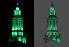 "Before and after, City and County Building tower, Denver Colorado: View in size X2. Color saturation tool, blue, used hue slider to move from purple tone to green. Saved as new image, then applied filters.<br /> <br /> First applied Colored Pencil filter from the Artistic set; pencil width 5 - stroke pressure 11 - paper brightness 16. Next applied Rough Pastels also from the Artistic set; stroke length 6 - stroke detail 4 - texture burlap - scaling 20%.<br /> <br /> See the original photograph here:<br />  <a href=""http://www.snapdigital.org/Photography/Night-Vision/20051358_6wtk3v#1603549583_zTLhJSg-XL-LB"">http://www.snapdigital.org/Photography/Night-Vision/20051358_6wtk3v#1603549583_zTLhJSg-XL-LB</a>"
