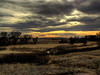 RENDERED: with Watercolor filter from the artistic group. <br /> <br /> Oliver Reservoir State Recreation Area, Nebraska, at dusk.
