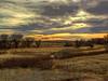 RENDERED: increased saturation 20%, then applied Poster Edges filter, default settings, from the artistic group. <br /> <br /> Oliver Reservoir State Recreation Area, Nebraska, at dusk.