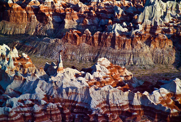 Aerial view of pinnacles, layers and colors of Painted Desert, Arizona