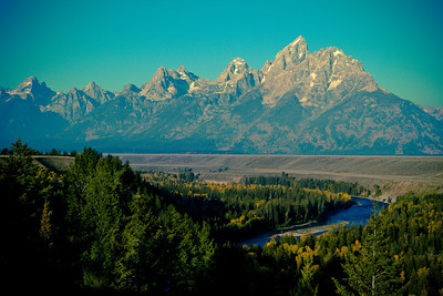The Snake River with the Grand Tetons in the background.  - Jackson Hole Wyoming Copyright 2014 - Thorpeland Photography