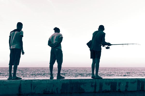 Three Fishermen, One pole