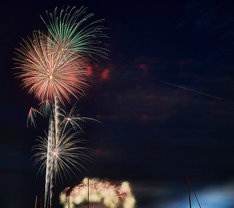 July 4, 2018 - Mamaroneck, NY   Fourth of July fireworks as captured from Shore Acres over the harbor  Photographer- Robert Altman Post-production- Robert Altman