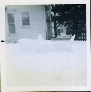 """The movie """"Jaws"""" had come out that year and was  all the rage.  Some neighborhood friends and I got together and made a Jaws snow sculpture."""