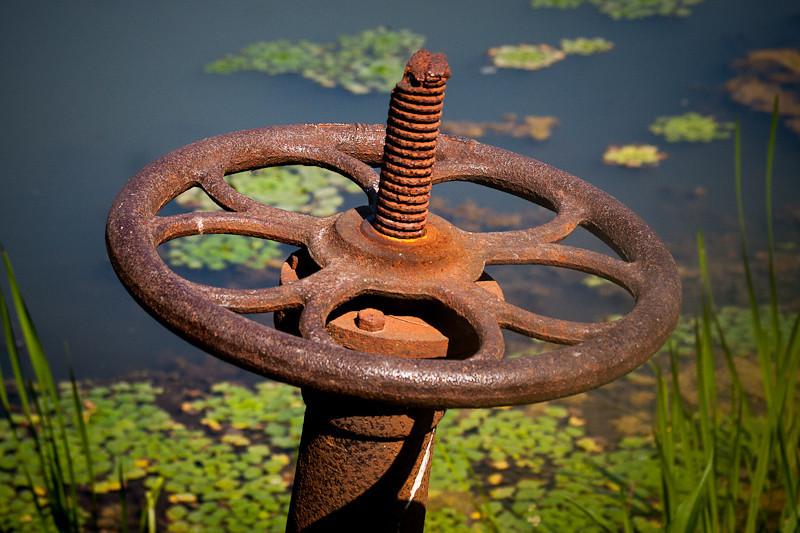 Rusted sluice control valve of Beaver Pond