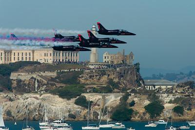 Patriots Jet team fly over Alcatraz