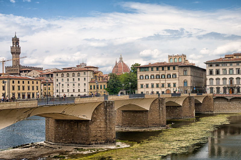 "View of the Florence ""skyline"" across the Arno River with the City Hall to the left and the Basilica in the center"
