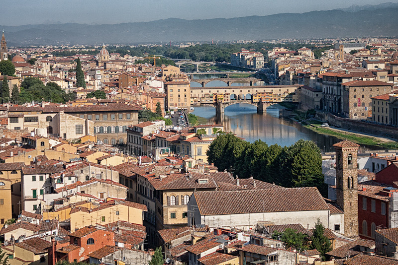 View of Florence along the Arno River (City Hall in foreground, Ponte Vecchio, mid-ground