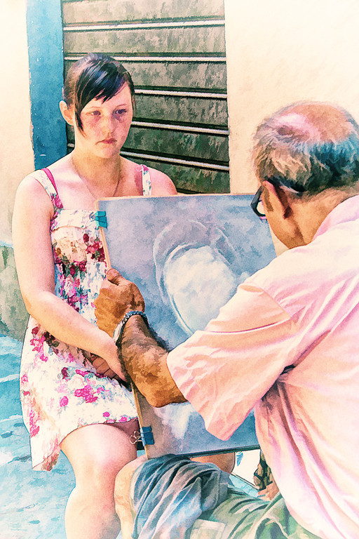 Artist on the streets of Florence near the Piazza di Santa Croce