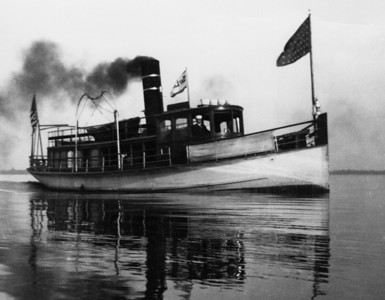 "The yacht steamer ""Keystone"" on the St. Johns River.   ""Built in 1893 at Nyack, New York by Julius Peterson as a private yacht for day service only. First owner was Mrs. Mary Packer Cummings who used it for service between Jacksonville and Keystone Bluff (the winter home of Cummings). Sold in 1913 to Captain H.D. DeGrive and used for a short while on Passenger Package Freight and Mail Run from Jacksonville (Newman Street wharf) and Keystone, Arlington and Floral Bluff, Florida. It was then used for exclusive Passenger Excursion Service from Jacksonville to Green Cove Springs. Sold around 1925 to Captain Charles M. Fozzard and converted to Fairbanks-Morse 60 hp. diesel. It became a harbor tug and later was sold to parties in Miami for the same work."""