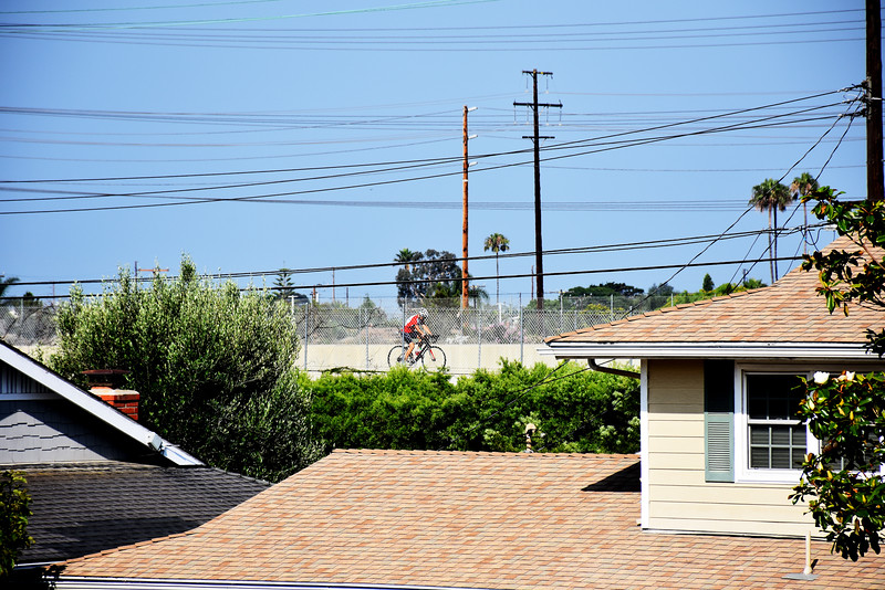 This Biker is Headed Away from the Beach in Costa Mesa CA