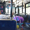 Homeless Woman Riding the Bus in Orange County California